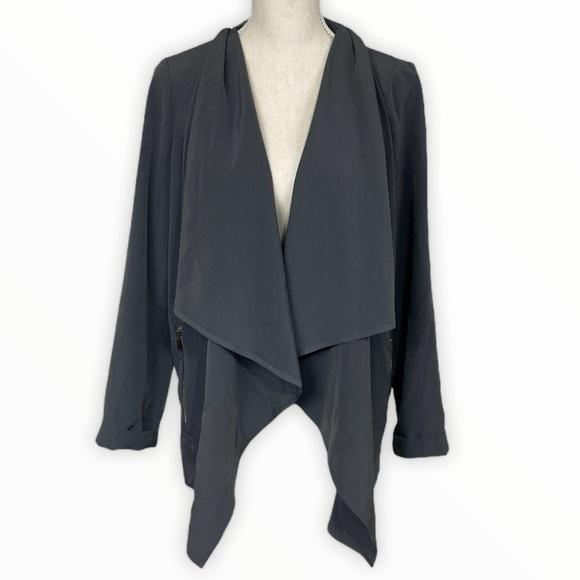 St John Grey Open Drape Blazer Jacket Size X-Small